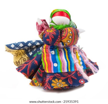 Russian traditional doll. Isolated on white.
