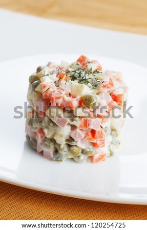 Russian traditional New Year's dish. Salad Olivier