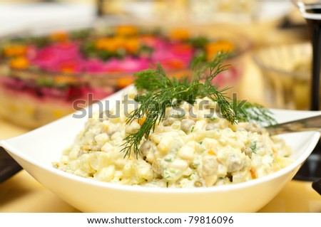 Russian traditional salad olivier.