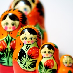 Russian traditional wooden doll called