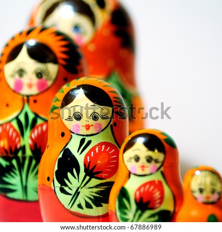 "Russian traditional wooden doll called ""Matryoshka"""