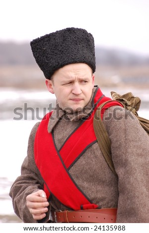 Russian uniform 1918. Civil War Historical military reenacting.  Kiev, Ukraine February 2, 2008