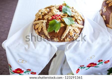 russian wedding cake. big bread - stock photo
