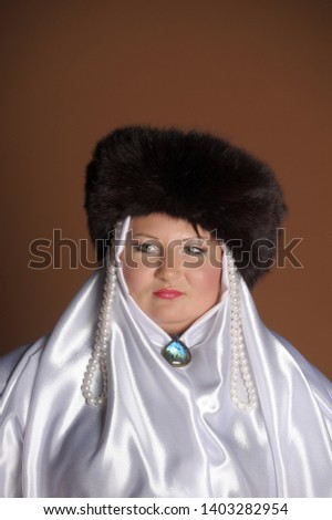 60c55d70623e9f Russian woman in a fur hat, white scarf and with pearls, historical  portrait #