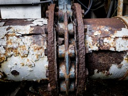 Rust and corrosion in the weld.Corrosion of metal.Rust of metals.Corrosive rusted bolt with nut.old valve.old flange.