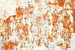 Rust background. Metal corrosion texture. Grunge steel backdrop. Scratched rusty iron sheet. White peeling paint structure.