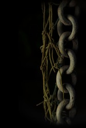 rust chain in a black background