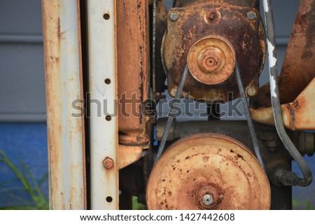 Rust laden industrial compressor pump stock photo