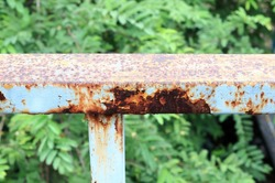 Rust of metals. Corrosion of metal. Rust and corrosion in the weld. Corrosive Rust on old iron, grunge rust texture, Rush on metal fench of old bridge.