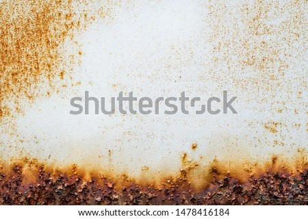Rust of metals.Corrosive Rust on old iron white.Use as illustration for presentation. Stockfoto ©