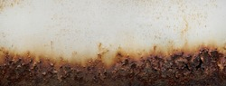 Rust of metals.Corrosive Rust on old iron white.Use as illustration for presentation.corrosion.Background rust texture as a panorama.