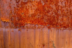 Rust of metals.Corrosive Rust on old iron with a hole. Rusted white painted metal wall. Rusty metal background with streaks of rust. Metal surface rusted spots.metal rust texture background