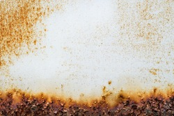 Rust of metals.Corrosive Rusty on old iron white.Use as illustration for presentation.