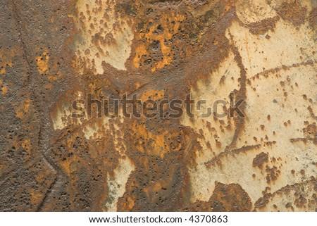 rust on a metal ships propeller.