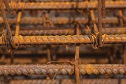 Rust on rod steel in construction