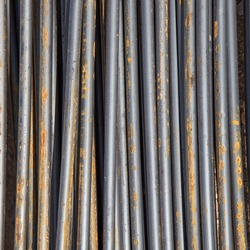 Rust on steel rods or steel bars, metal background