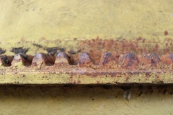 Rust on the gears of the cement mixer