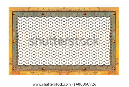 Rust  steel grating frame. Clipping path stock photo