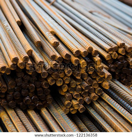 Rust steel rod or bars in warehouse