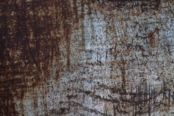 Rust texture Background close-up rusty red metal with weathered old scratched silver paint surface