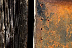 Rust texture. Grunge rusted metal, nails and older wood plank, rust and oxidised metal background. Old metal iron panel.