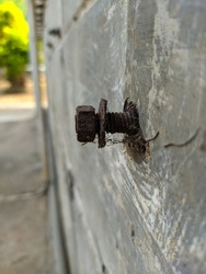 Rusted bolt stuck in the wall