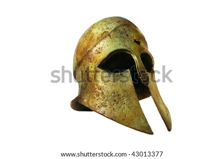 Rusted Bronze Greek Helmet Isolated on White