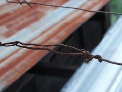 rusted clothesline. nature photo object