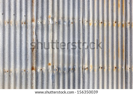 Rusted, galvanized, corrugated iron siding, vintage background.