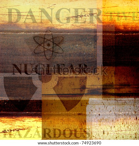 rusted grunge industrial design background with danger and nuclear symbol