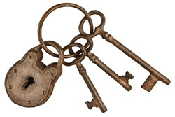 Rusted lock and keys attached on a keyring isolated on a white background