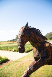 Rusted metal horse sculpture