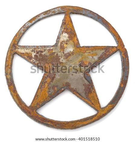 Rusted metal star in circle