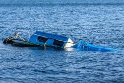 Rusted old boat sunken in the Marmara Sea
