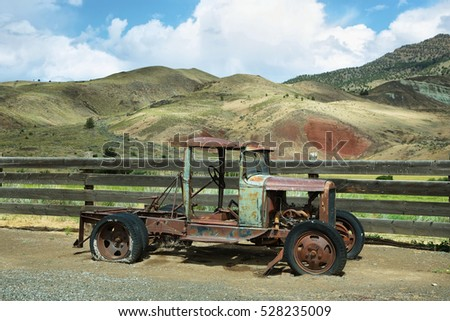 Rusted old car in Cant Ranch, John Day Fossil Beds, near John Day, OR
