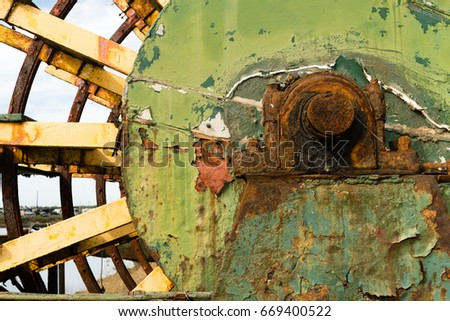 Rusted Paddle Wheel Retired Riverboat