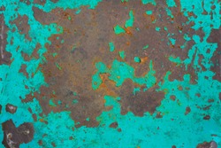 Rusted painted metal steel background. High resolution image of rusted blue abstract texture. Corroded turquoise color paint metal backdrop. Aqua blue paint with streaks of rust. Rusty corrosion.