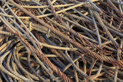 Rusted steel wire scrap.Wire rope - heavy duty steel wire cable