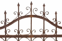 Rusted wrought iron fence on white background