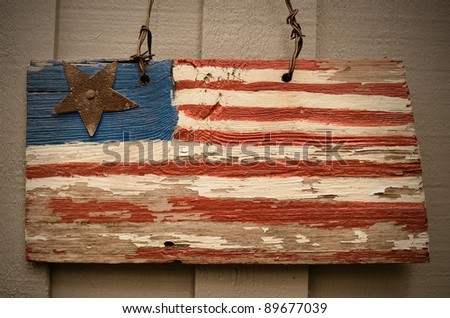 Rustic american flag on a wall