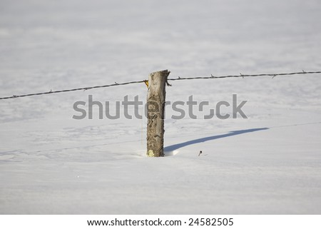 Rustic barbed ( also known as barb, bob, and bobbed) wire fence with a rough hewn fence post buried in snow in Northern Minnesota