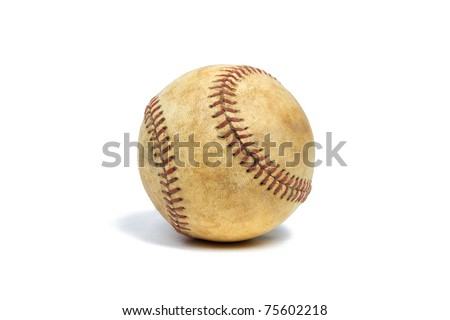 Rustic Baseball on a Pure White Background