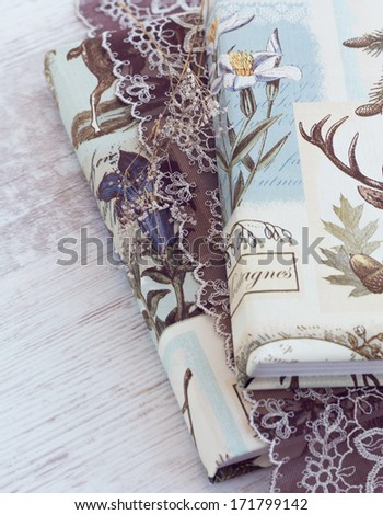 Rustic books with brown lace - woodland decor