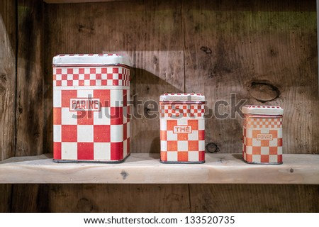 Rustic boxes of Flour, Tea and Pepper