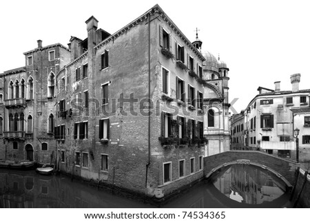 Rustic buildings on a canal, Venice, Italy