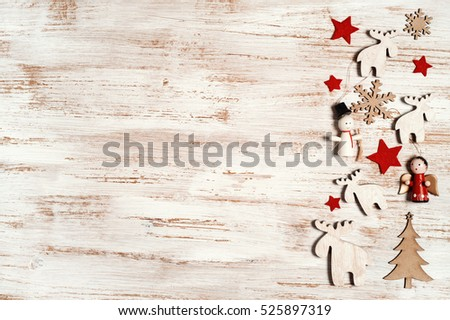 Rustic Christmas Border With Holiday Decoration On Wooden Shabby Chic Background 525897319