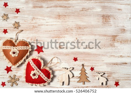 Free Rustic Christmas Border With Holiday Decoration On Wooden