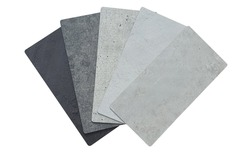rustic concrete laminateds samples swatch in black ,grey and white color tone. collection of cement stone laminated samples   for industrial interior style mood and tone.