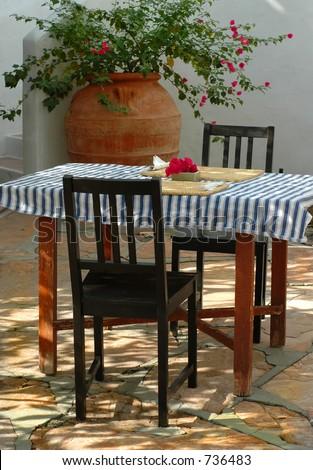Rustic courtyard breakfast table