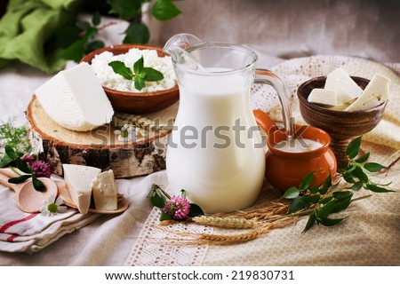 rustic dairy products still life with birch and clover
